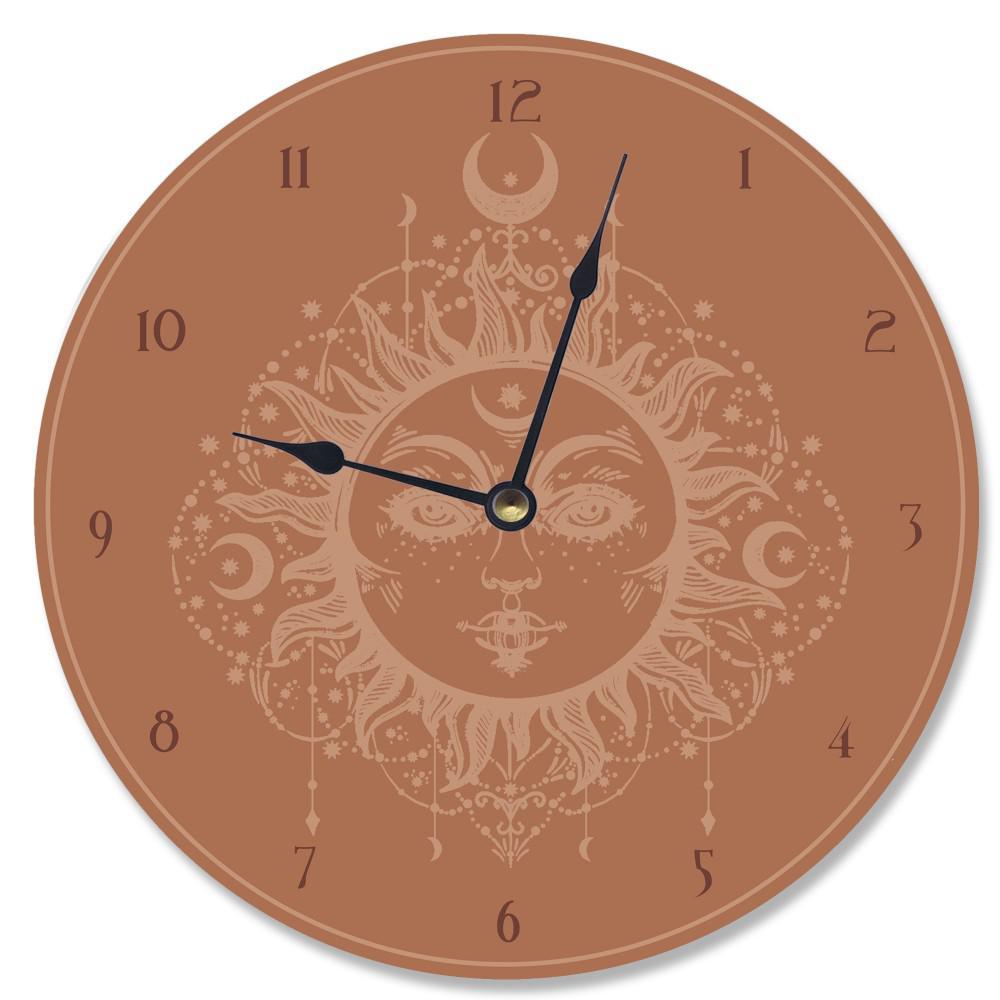 """Tarot Terra Cotta Sun"" by Daphne Polselli Wall Clock"