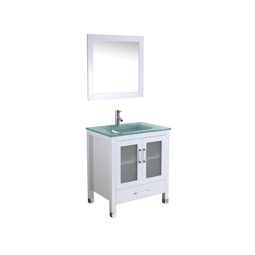 Virtu USA Bradly 29-1/10 in. Single Basin Vanity in White with Glass Vanity Top in Aqua and Framed Mirror-DISCONTINUED