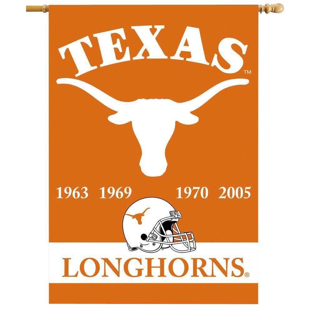 BSI Products NCAA 28 in. x 40 in. Texas Champ Years 2-Sided Banner with Pole Sleeve