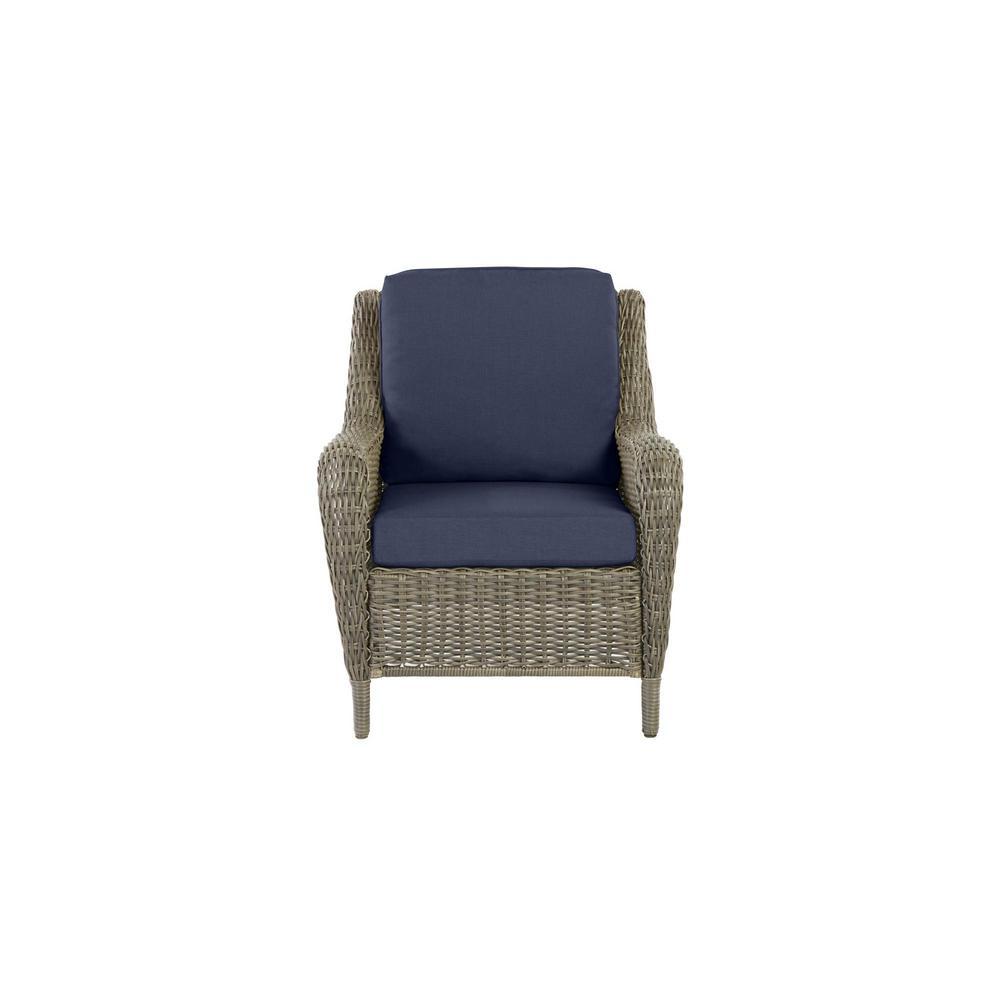 Hampton Bay Cambridge Gray Wicker Outdoor Patio Lounge Chair with CushionGuard Midnight Navy Blue Cushions