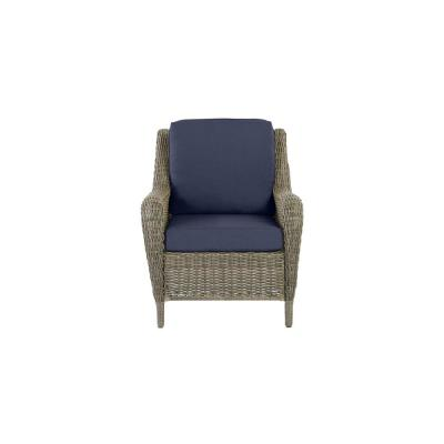Cambridge Gray Wicker Outdoor Patio Lounge Chair with CushionGuard Midnight Navy Blue Cushions