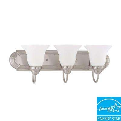 3-Light Brushed Nickel Fluorescent Wall Vanity Light