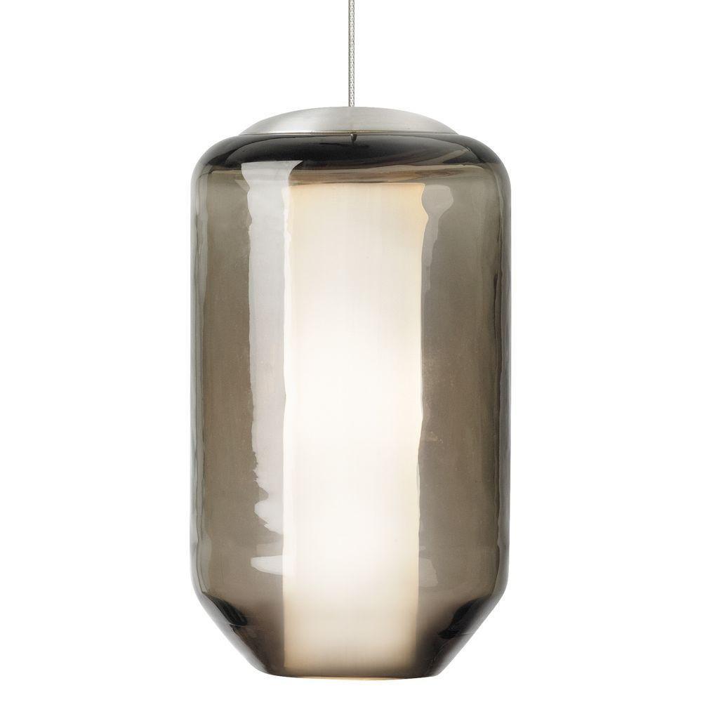 LBL Lighting Mini-Mason 1-Light Satin Nickel Xenon Mini Pendant with Brown Shade