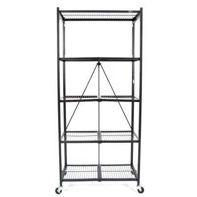 21 in. x 36 in. x 78 in. Large Wheeled 5-Shelf Folding Steel Wire Shelving Black