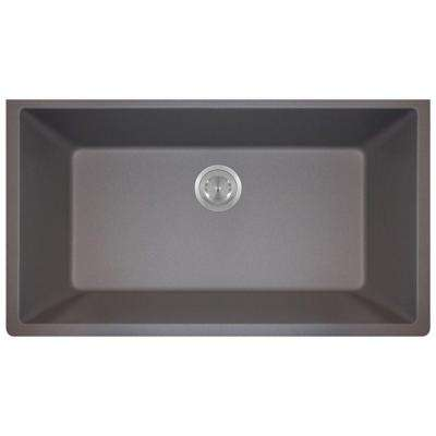 Undermount Granite 33 in. Single Bowl Kitchen Sink in Silver