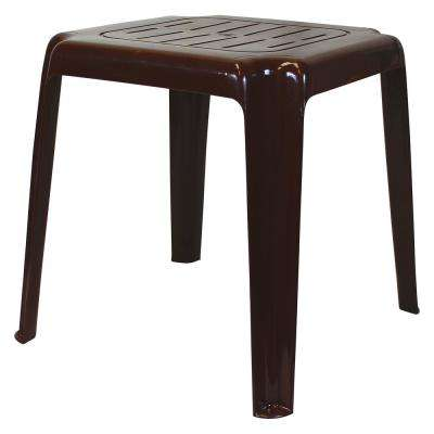 17 in. Brown Stackable Slotted Plastic Outdoor Side Table