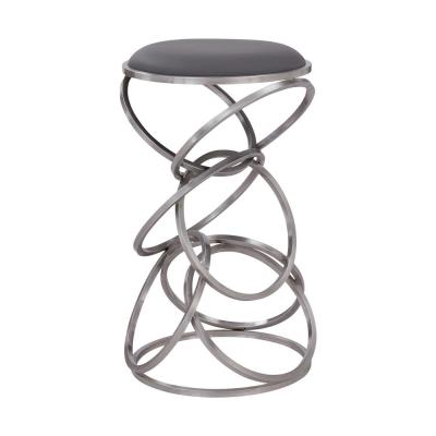 Medley Contemporary 26 in. Counter Height Bar Stool in Brushed Stainless Steel and Grey Faux Leather