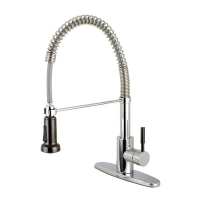 Modern Single-Handle Pull-Down Sprayer Kitchen Faucet in Chrome and Black Stainless Steel