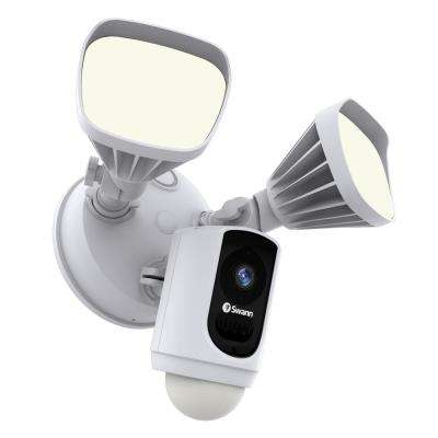 Outdoor Wi-Fi Camera with Motion Activated Floodlight, White