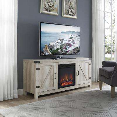 58 in. White Oak Barn Door Fireplace TV Stand