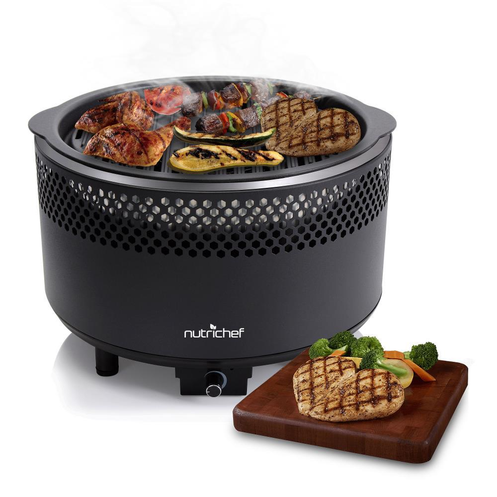 NutriChef Portable Outdoor Charcoal BBQ Grill Black ...