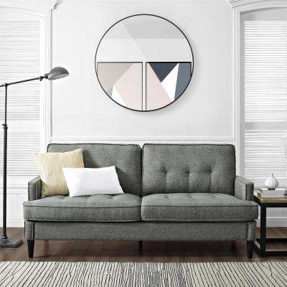 Lakewood Tufted Gray Sofa