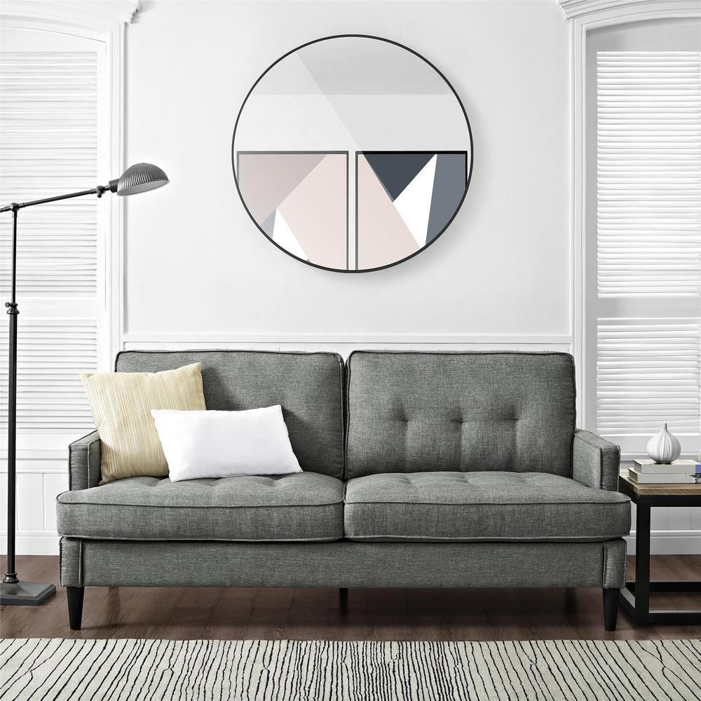 Dorel Lakewood Tufted Gray Sofa