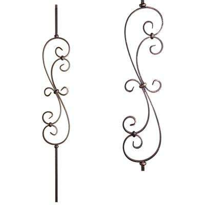 Scrolls 44 in. x 0.5 in. Oil Rubbed Bronze Large Spiral Scroll Hollow Wrought Iron Baluster