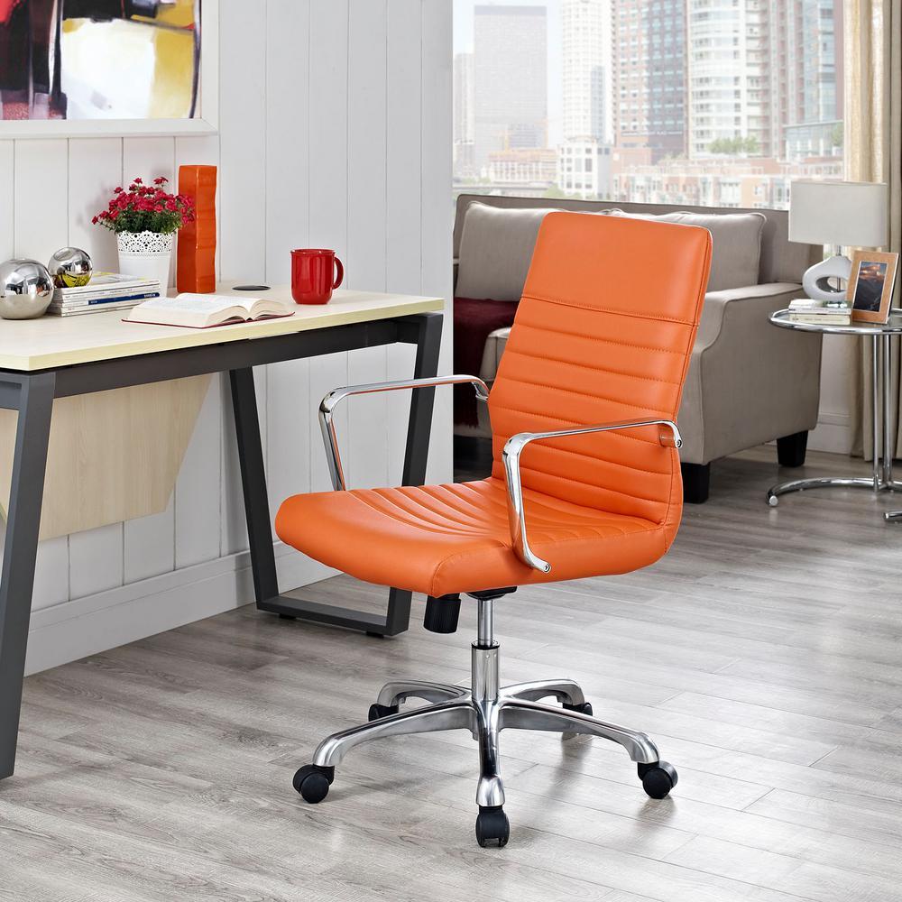 Finesse Mid Back Memory Foam Office Chair In Orange