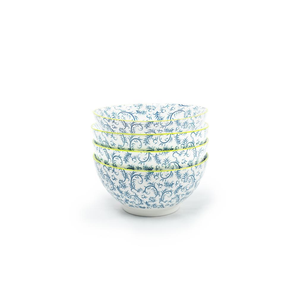 Thea Blue Soup Bowls (Set of 4)