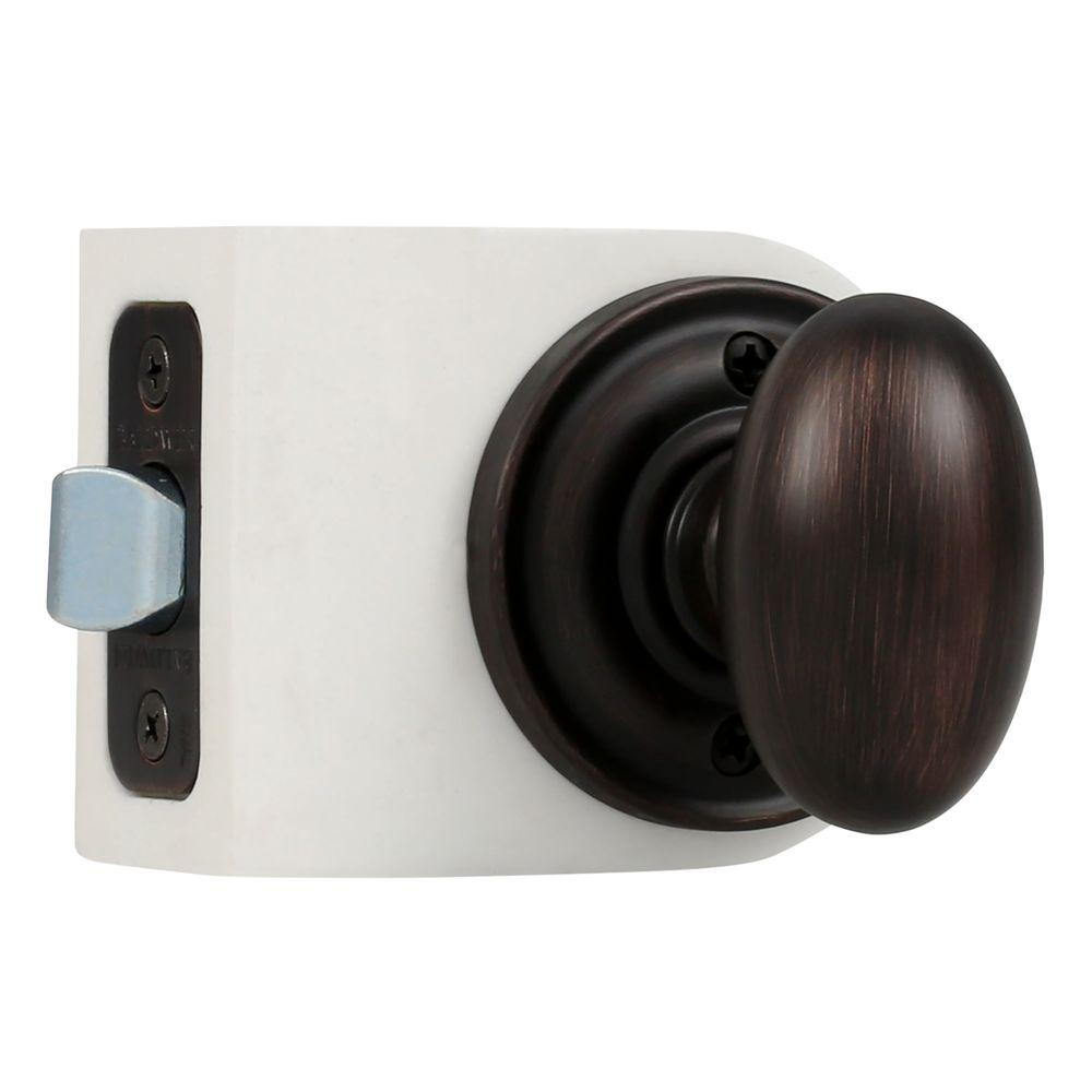 Reserve Ellipse Venetian Bronze Hall/Closet Knob with Traditional Round Rose