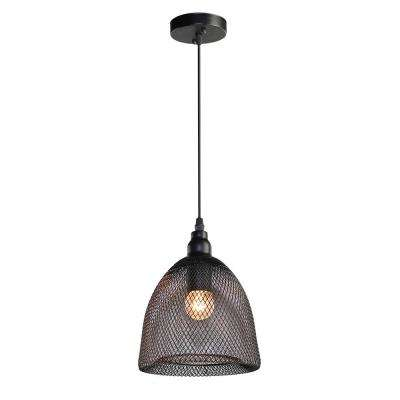 1-Light Black Wire Mesh Pendant Light