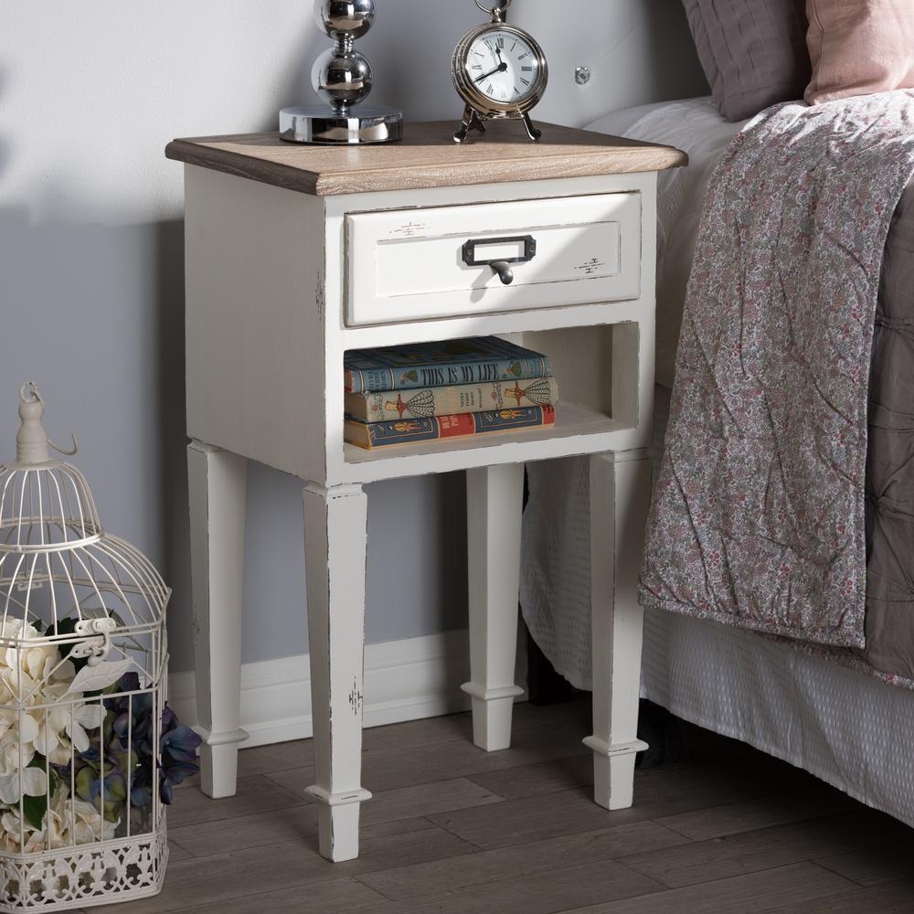 Baxton Studio Dauphine 1-Drawer 1-Shelf White Nightstand 28862-7575-HD