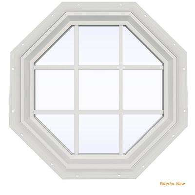 35.5 in. x 35.5 in. V-2500 Series White Vinyl Fixed Octagon Geometric Window with Colonial Grids/Grilles