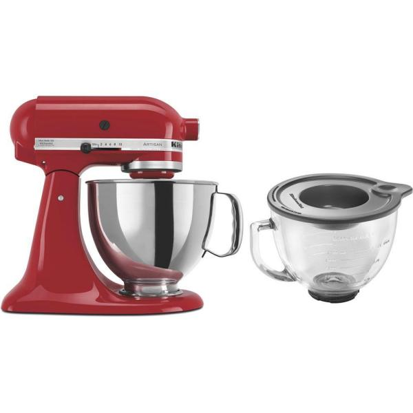 KitchenAid Artisan 5 Qt. 10-Speed Empire Red Stand Mixer with Flat