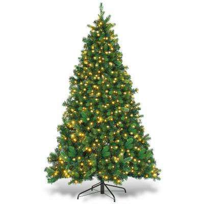 6.5 ft. Green Pre-Lit Dense Christmas Tree PE and PVC Hinged with 650-Warm Lights