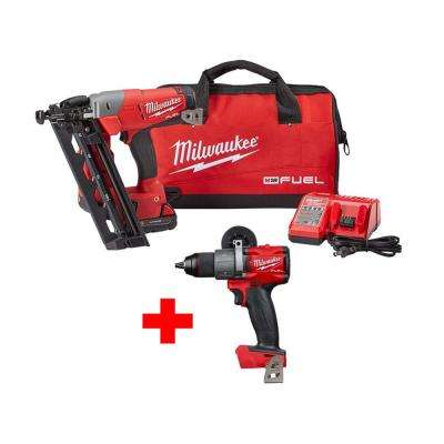 M18 FUEL 18-Volt Lithium-Ion Brushless Cordless 16-Gauge Angled Finish Nailer Kit W/ Free M18 FUEL Hammer Drill