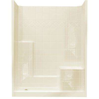 32 in. x 60 in. x 77 in. Standard Low Threshold 3-Piece Shower Kit in Biscuit with Right Seat and Left Drain