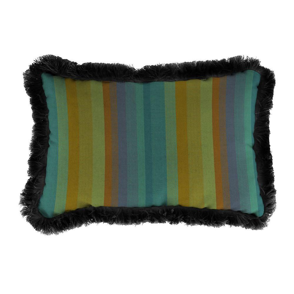 Jordan Manufacturing Sunbrella 9 in. x 22 in. Astoria Lagoon Lumbar Outdoor Pillow with Black Fringe