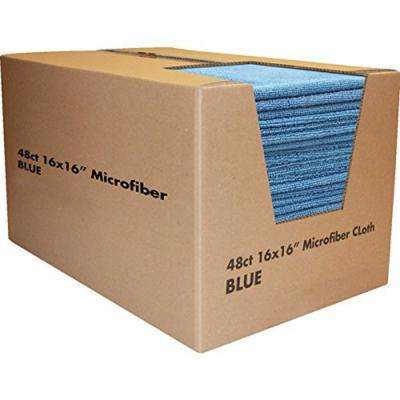 Microfiber Cleaning Cloths,16in. x 16in., Blue (48-Pack)