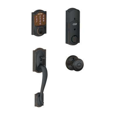 Camelot Aged Bronze Sense Smart Door Lock with Georgian Knob Door Handleset