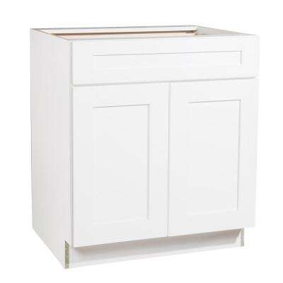 Ready to Assemble 30x34.5x23.7 in. Shaker 1 Drawer 2 Door Base Cabinet in White with Soft-Close