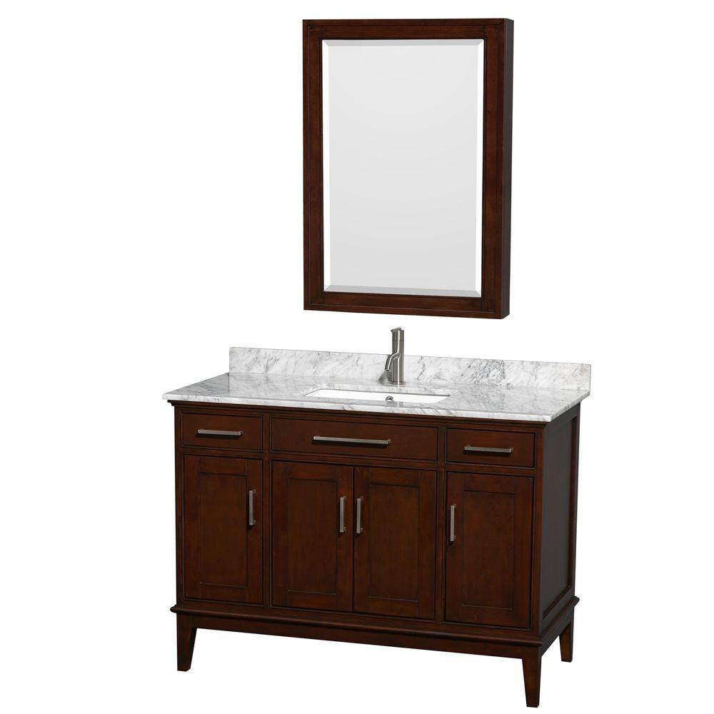 Wyndham Collection Hatton 48 in. Vanity in Dark Chestnut with Marble Vanity Top in Carrara White, Square Sink and Medicine Cabinet