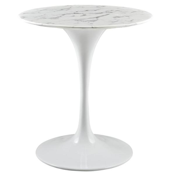 28 in. Lippa in White Round Artificial Marble Dining Table