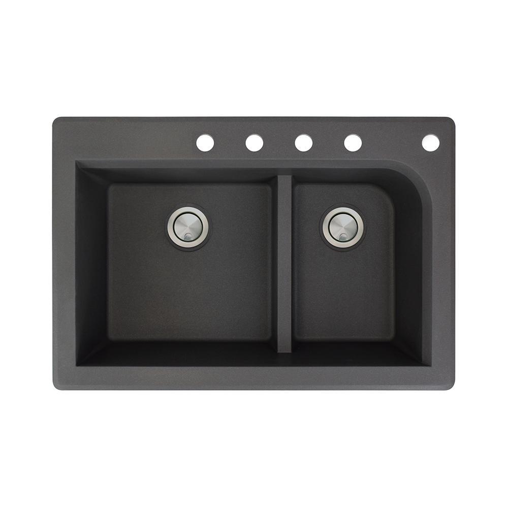 Radius Drop-In Granite 33 in. 5-Hole 1-3/4 J-Shape Double Bowl Kitchen Sink in Black