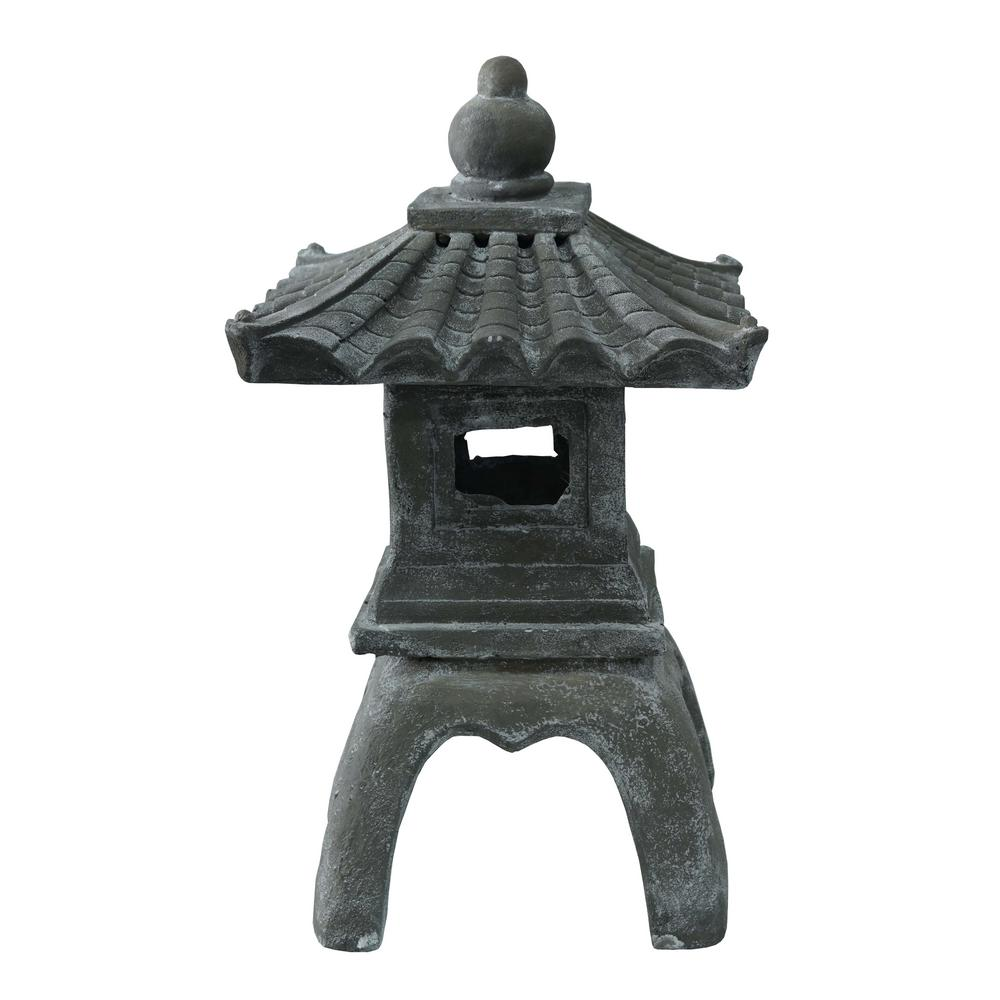 Hi-Line Gift 24.5 in. Pagoda Decorate your home or garden with this unique pagoda. The contoured roof supports a strong finial. Made from durable polyresin. Place it indoors or outdoors in your garden.