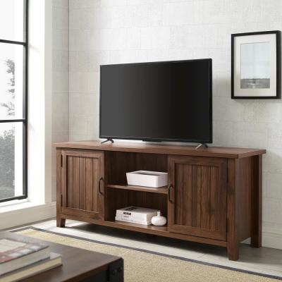 58 in. Dark Walnut Composite TV Stand Fits TVs Up to 64 in. with Storage Doors