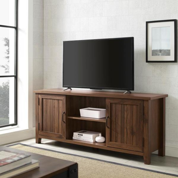 58 in. Dark Walnut Composite TV Console Fits TVs Up to 64 in. with Storage Doors