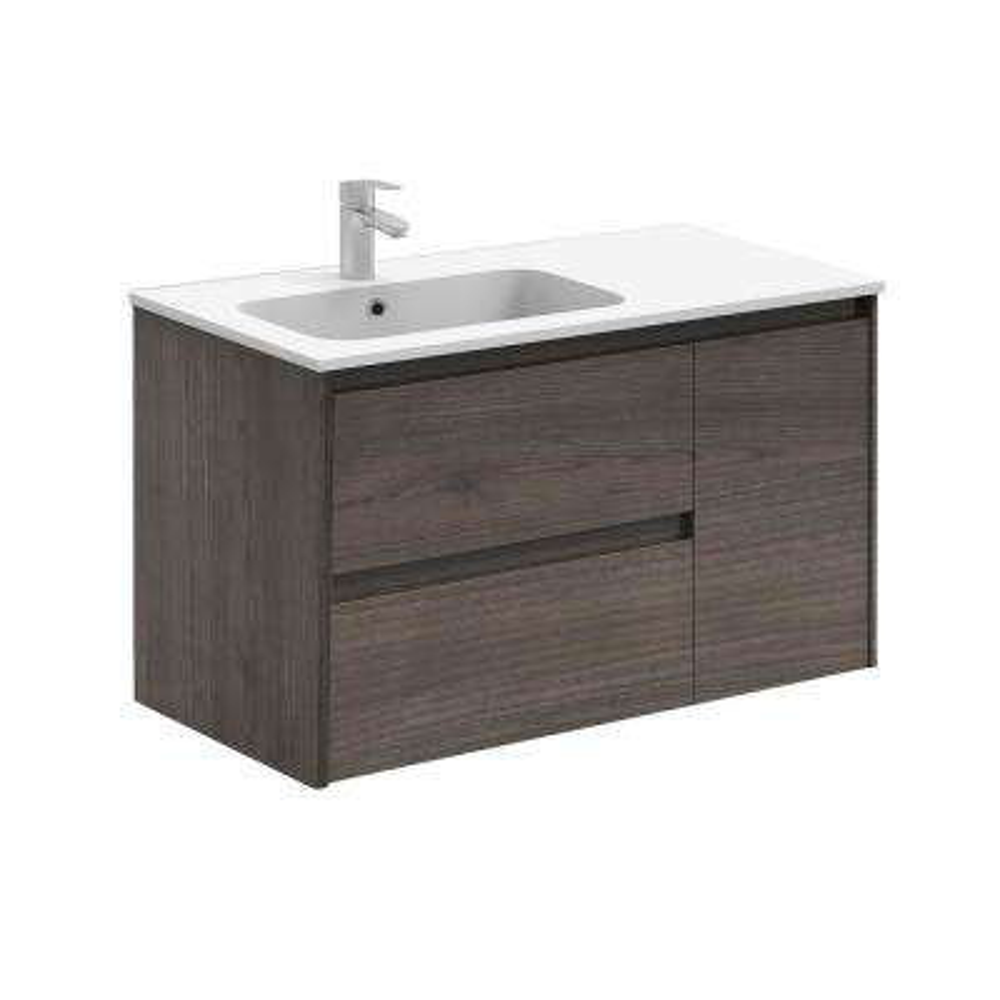 Ambra 35.6 in. W x 18.1 in. D x 22.3 in. H Bathroom Vanity Unit in Samara Ash with Vanity Top and Basin in White