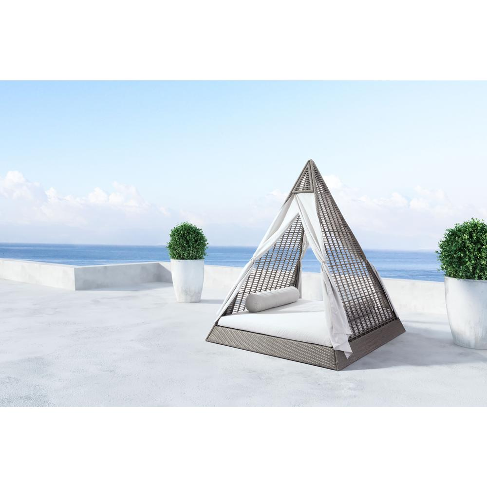 Zuo Aluminum Outdoor Day Bed Light Gray Cushions
