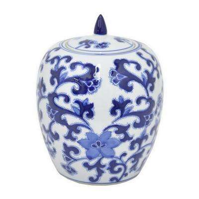 10 in. Blue and White Ceramic Jar