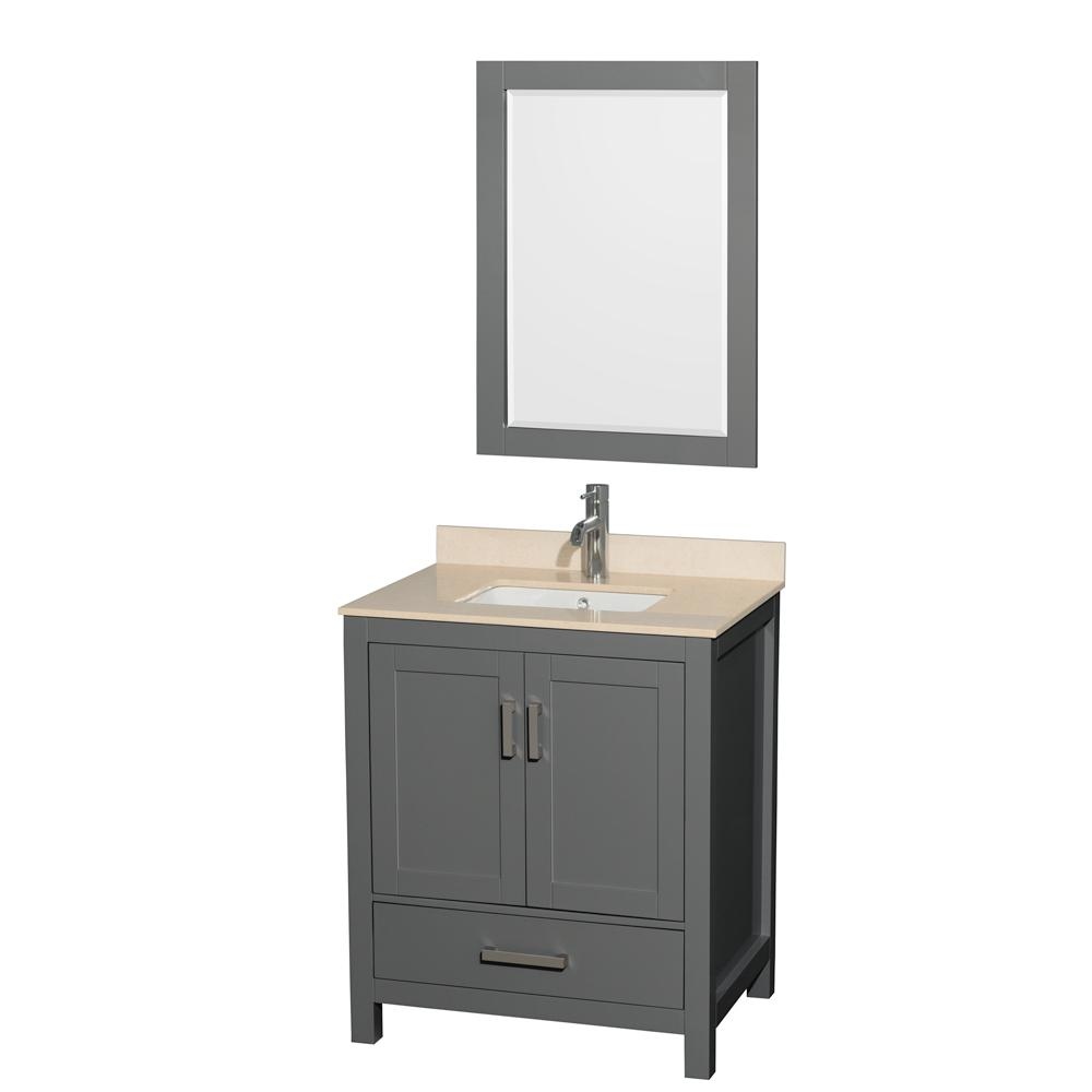 Sheffield 30 in. W x 22 in. D Vanity in Dark Gray with Marble Vanity Top in Ivory with White Basin and Mirror