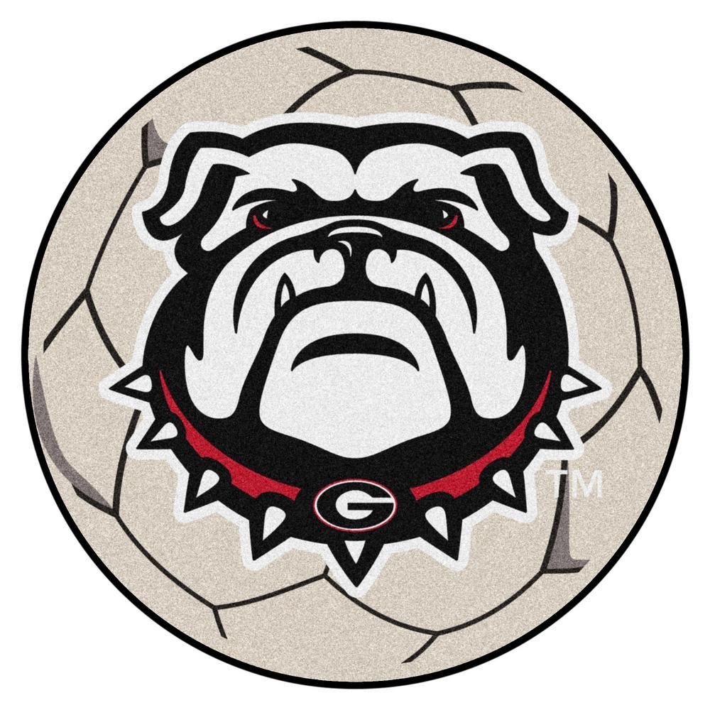 NCAA University of Georgia 27 In. Round Soccer Ball Area Rug