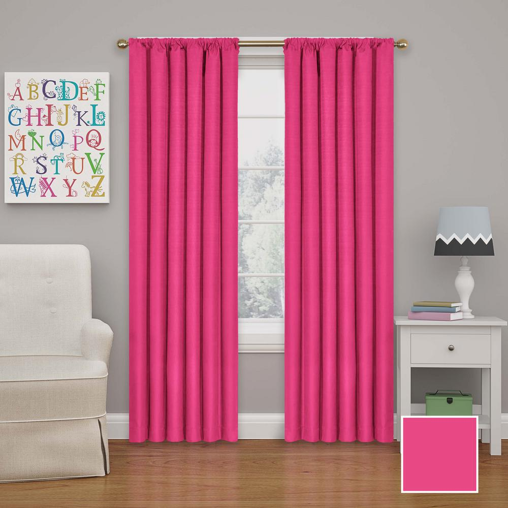 Eclipse Kendall 54 In. L Polyester Curtain In Raspberry