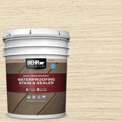 5 gal. #ST-157 Navajo White Semi-Transparent Waterproofing Exterior Wood Stain and Sealer
