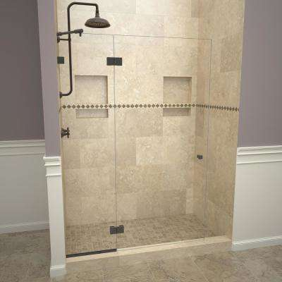 2300V Series 78 in. W x 76 in. H Semi-Frameless Pivot Shower Door with Fixed Panel in Oil Rubbed Bronze