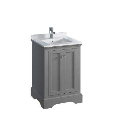 Windsor 24 in. W Traditional Bathroom Vanity in Gray Textured, Quartz Stone Vanity Top in White with White Basin