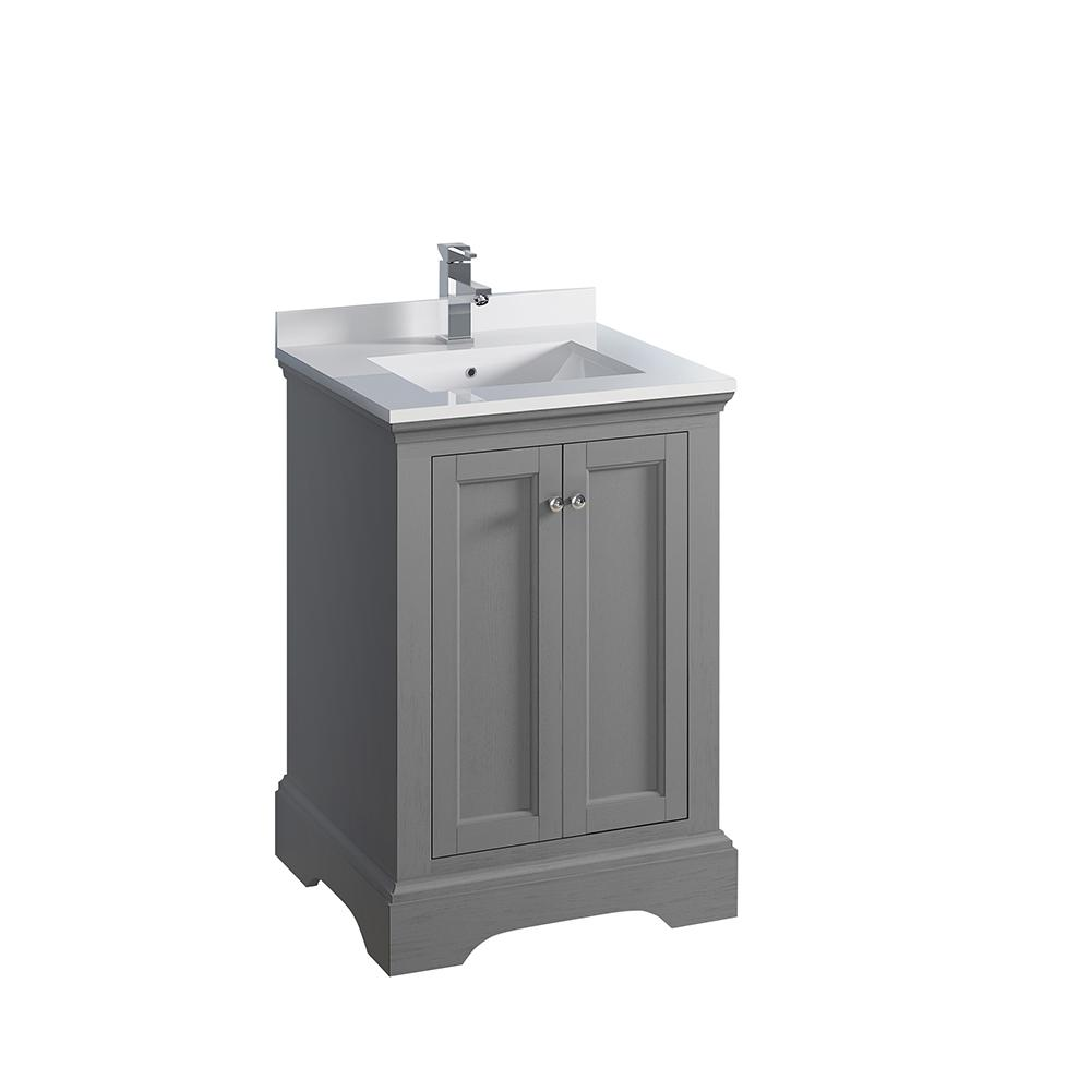 Windsor 24 in. W Traditional Bathroom Vanity in Gray Textured, Quartz