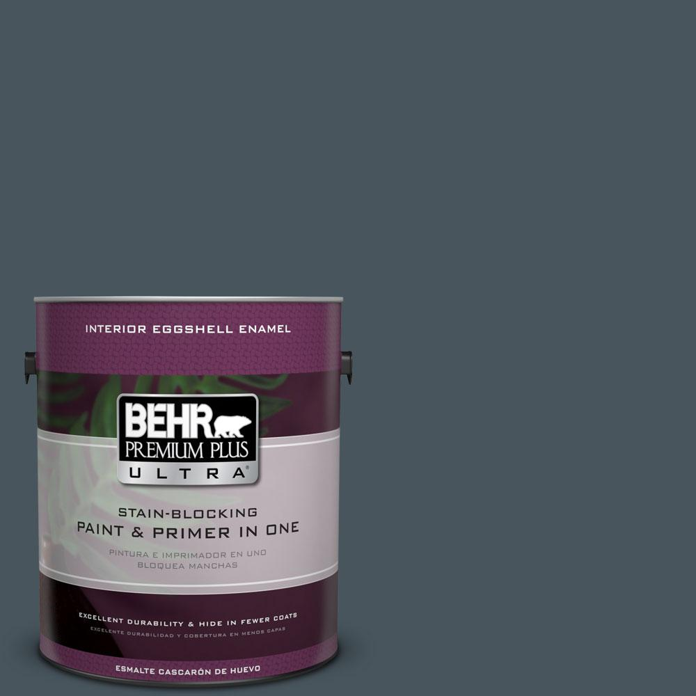 BEHR Premium Plus Ultra 1-gal. #BNC-40 Moody Black Eggshell Enamel Interior Paint