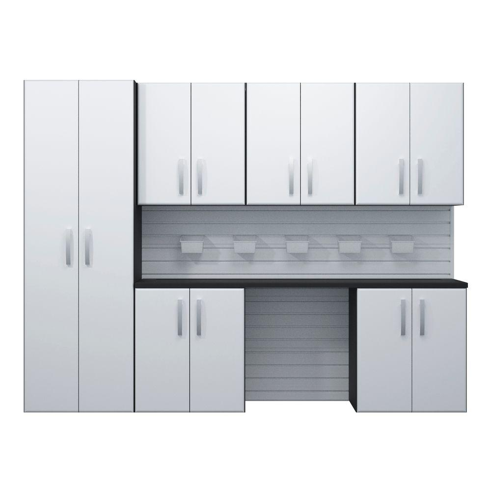 flow wall modular wall mounted garage cabinet storage set with additional storage bins in white the home depot